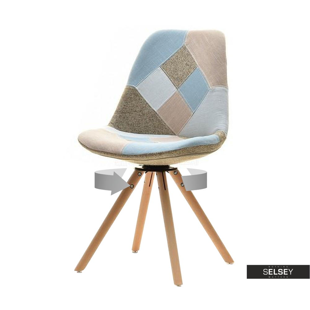 Krzesło Luis rot patchwork na bukowej podstawie obrotowe