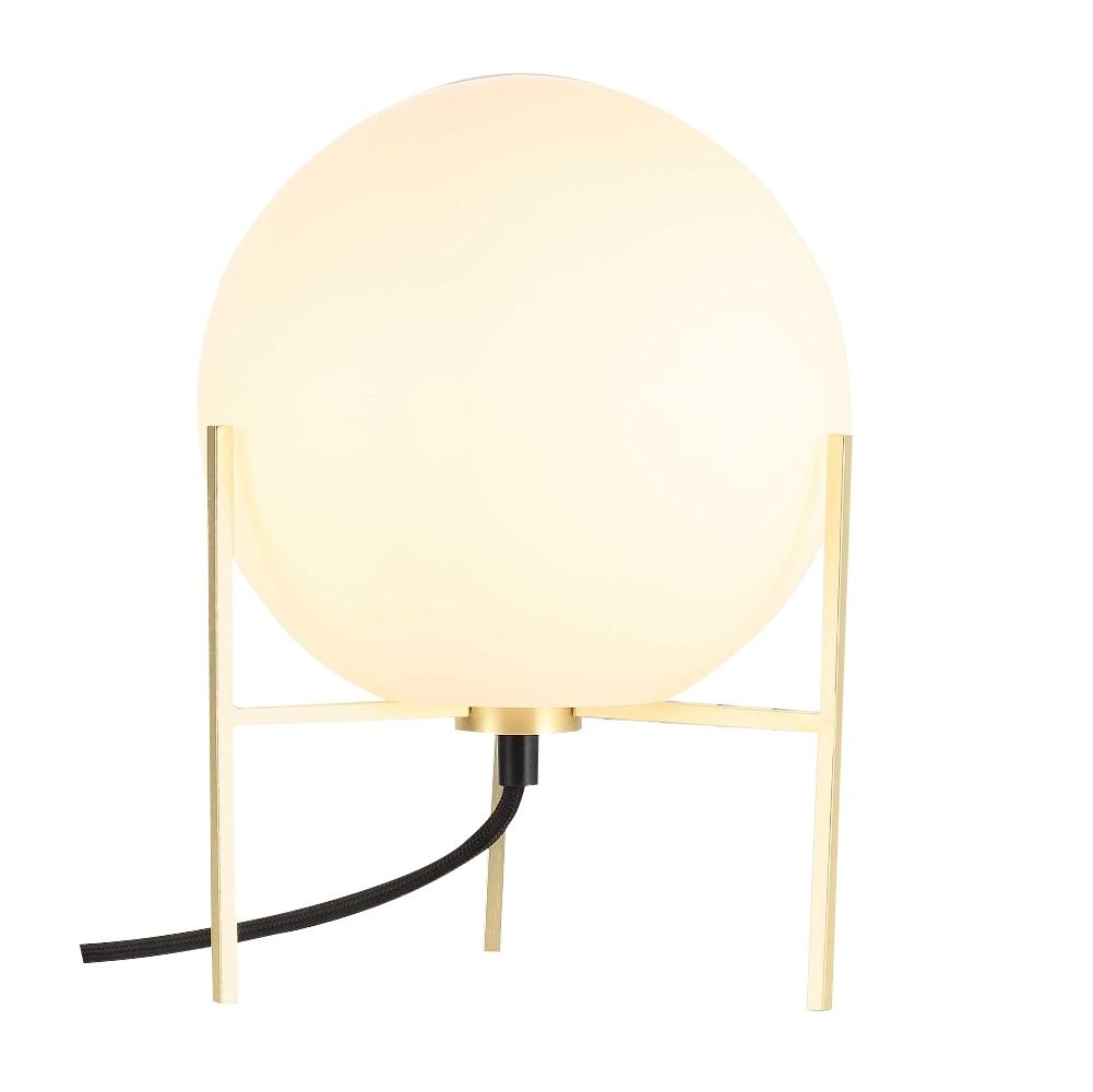 Lampa stołowa Alton mlecznobiałe szkło na złotej podstawie
