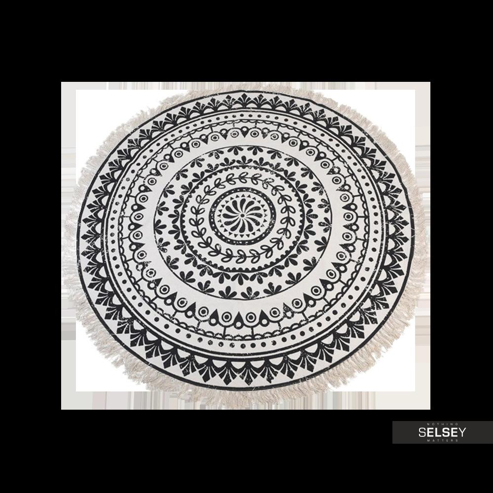 Dywan okrągły z frędzlami ciemny wzór średnica 150 cm wzór 2
