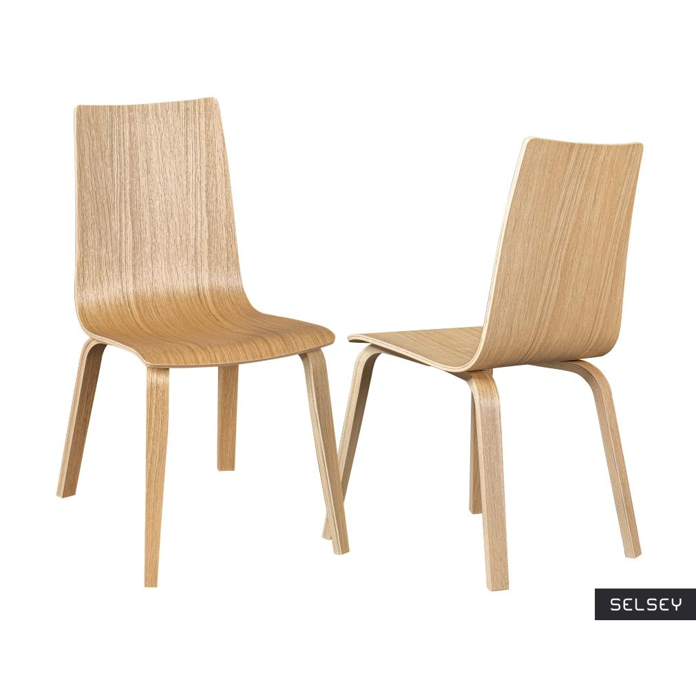 Zestaw dwóch krzeseł drewnianych Netior dębowe