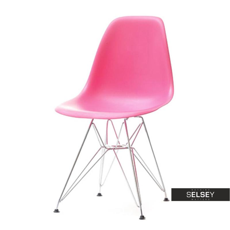 Krzesło MPC rod różowe na chromowanych nóżkach