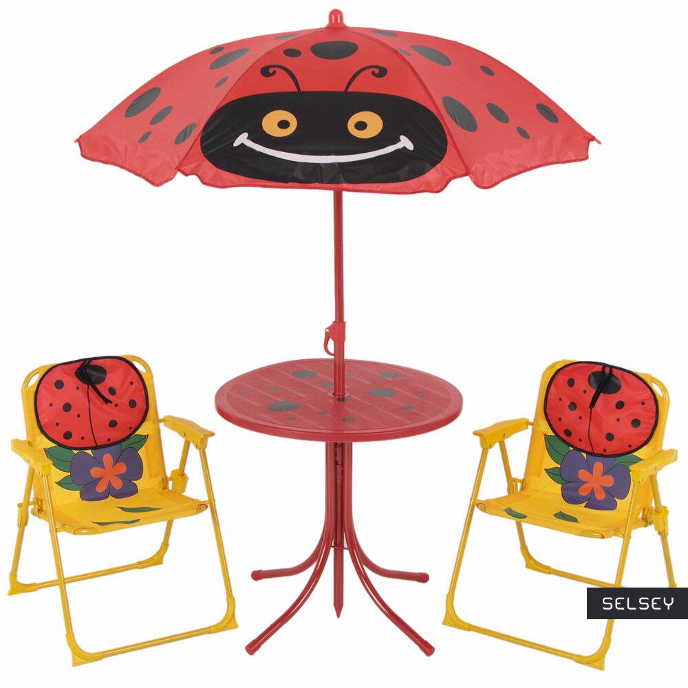 Zestaw ogrodowy Biedronki stolik z dwoma krzesełkami i parasolem