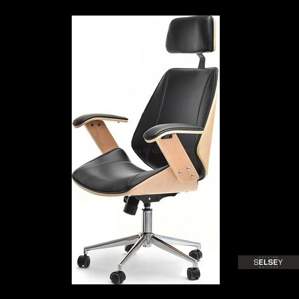 Fotel biurowy Frank bukowo - czarny z drewna dla prezesa