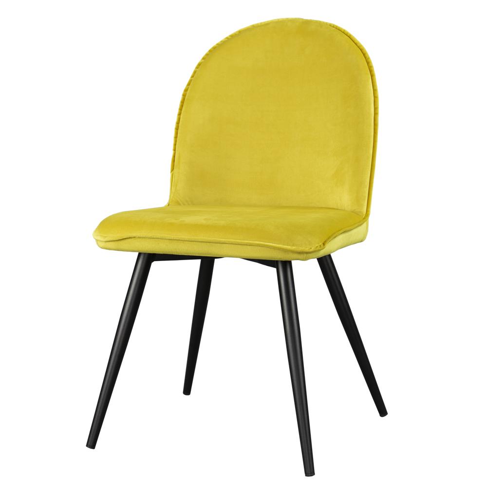 Krzesło Tony żółte na czarnych nogach ze stali