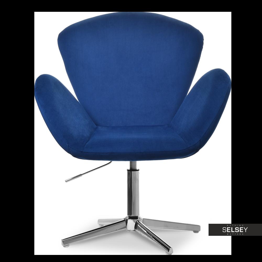 Fotel biurowy Swan granatowy z weluru obrotowy