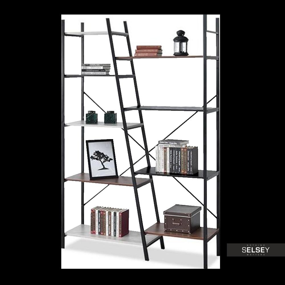 Regał Pyton czarny - patchwork z dziewięcioma półkami industrialny