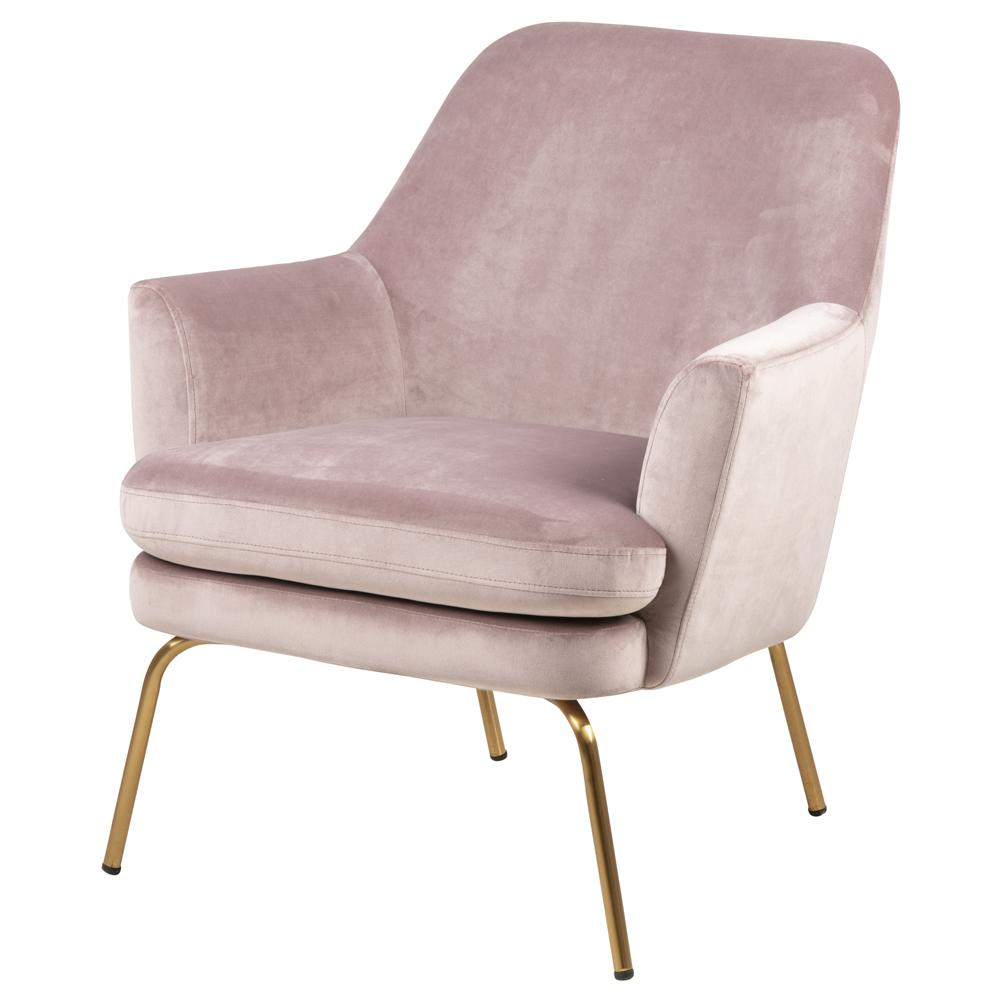 Fotel kubełkowy Breaza różowy welur na mosiężnych nóżkach