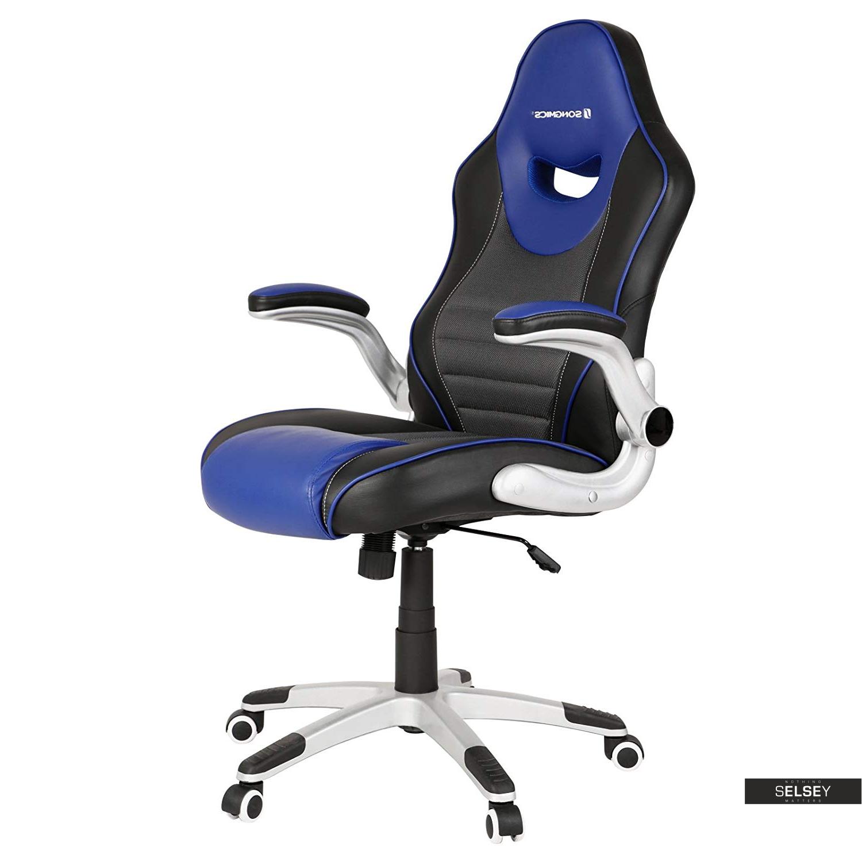 Fotel biurowy Cheryl czarny z niebieskimi wstawkami