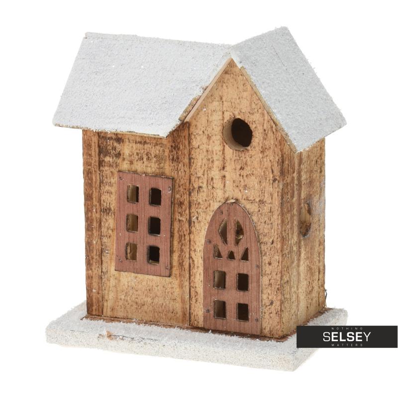 Dekoracyjny domek drewniany LED 15 cm