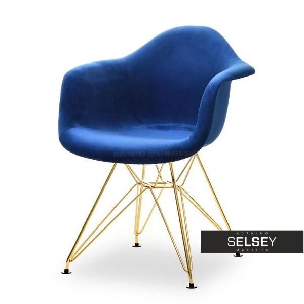 Krzesło MPA rod tap granatowy velvet na złotej podstawie