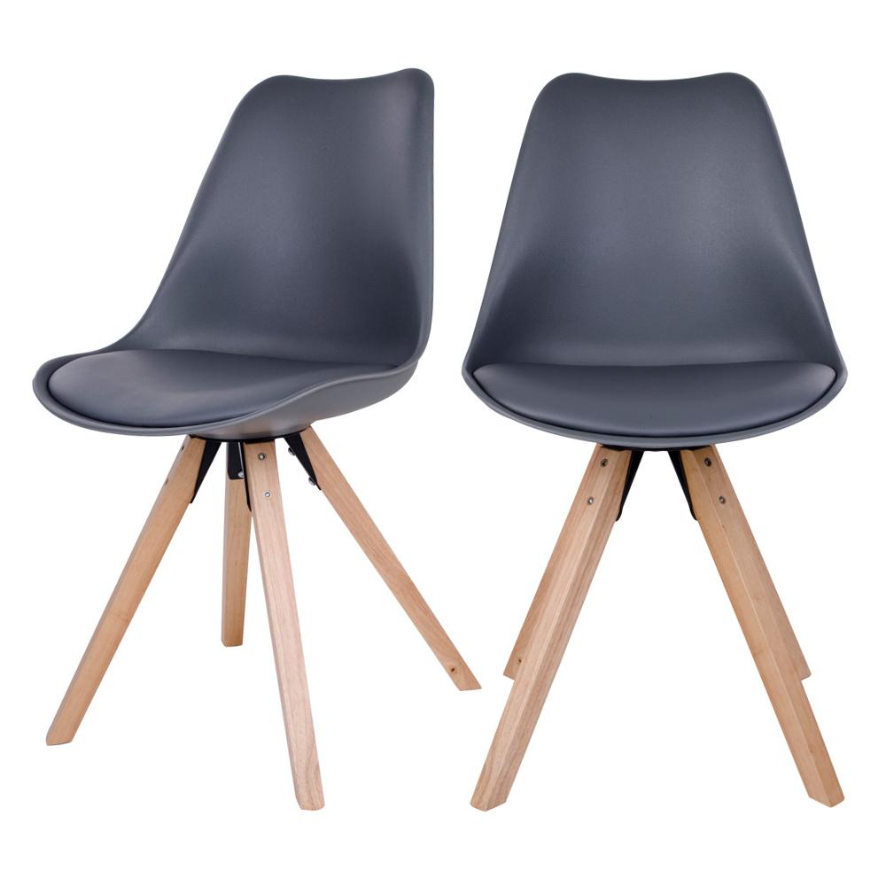Zestaw dwóch krzeseł Umbreta szare na drewnianej podstawie