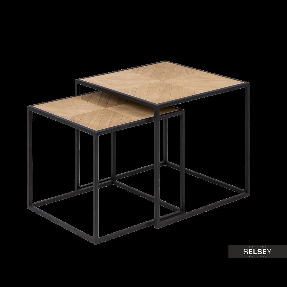 Zestaw dwóch stolików kawowych Bonor 44x44 cm i 38x38 cm