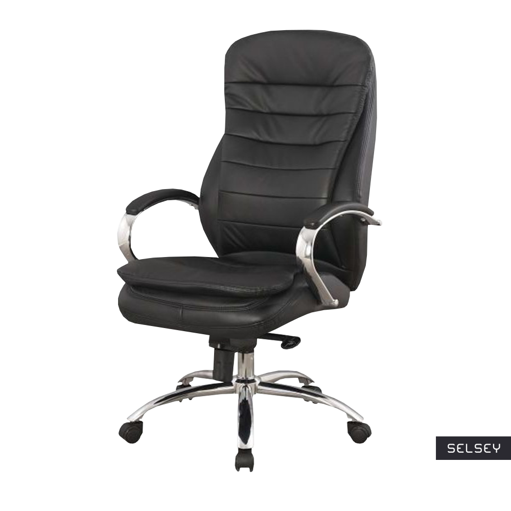 Fotel biurowy Arbeca czarna skóra