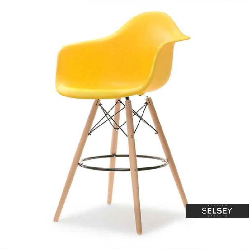 Hoker EPS wood 2 żółty na drewnianych nogach