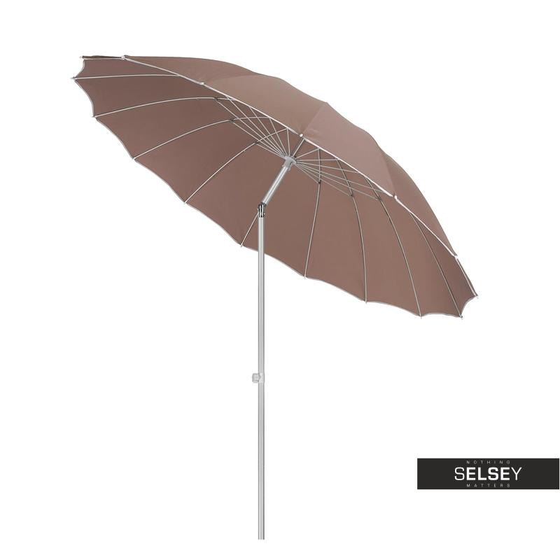 Parasol ogrodowy z regulacją 240 cm brązowy