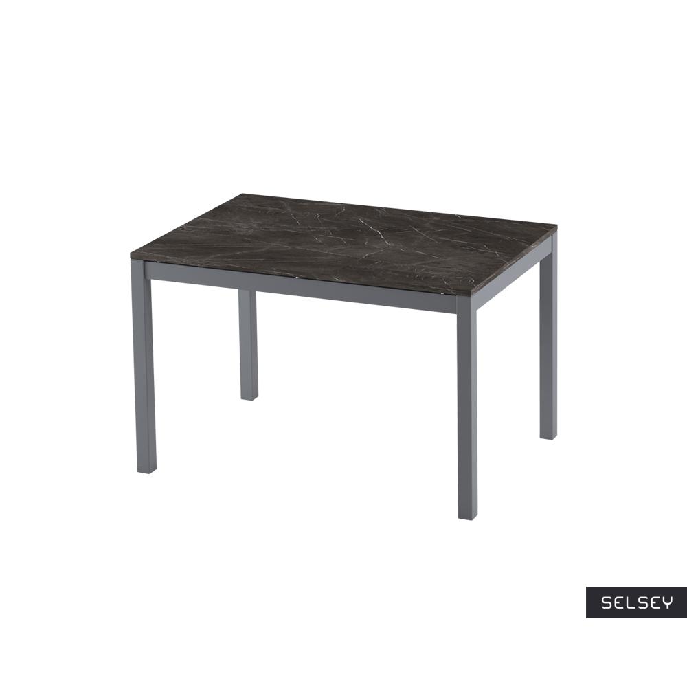 Włoski stół rozkładany Alberto 120-180x80 cm czarny marmur na antracytowych nogach