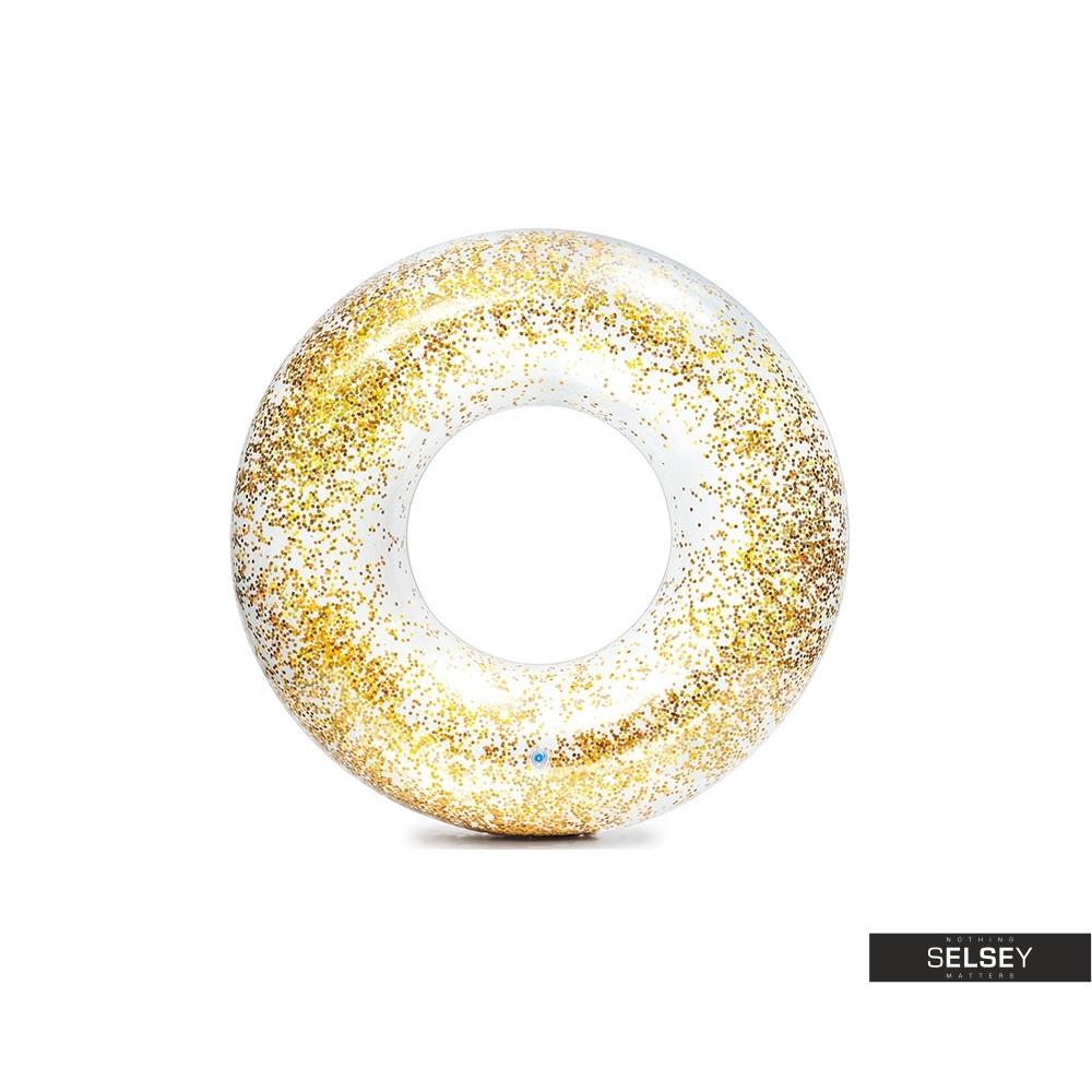 Dmuchane koło ratunkowe Glitter złote o średnicy 119 cm