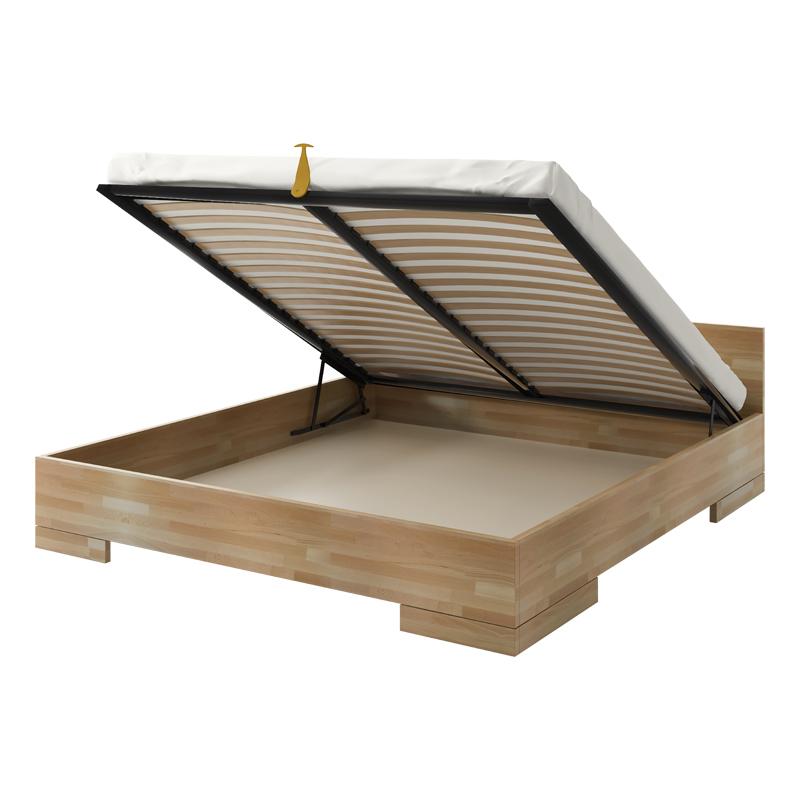 łóżko Halsa Z Drewna Bukowego Z Pojemnikiem Na Pościel