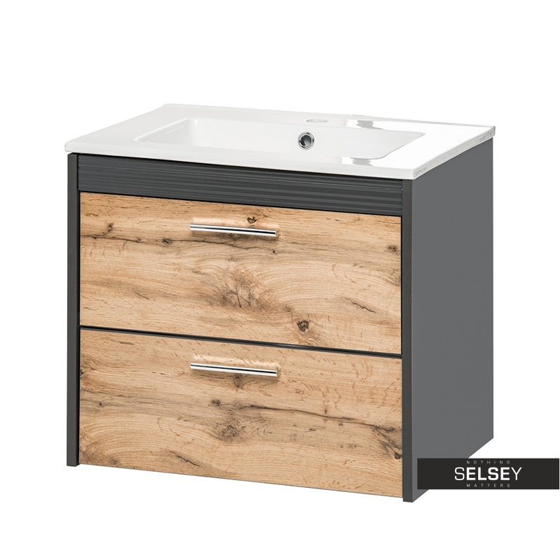 Szafka pod umywalkę Galicia antracyt / dąb wotan 60 cm