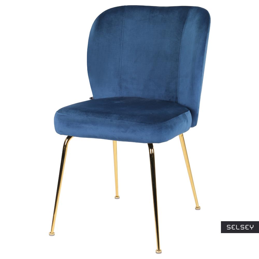 Krzesło tapicerowane Alruba granatowe na złotych nogach