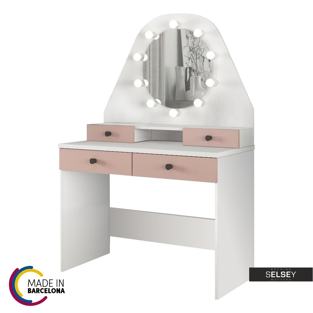 Toaletka Dacetino biały - róż z okrągłym lustrem i oświetleniem - made in Barcelona