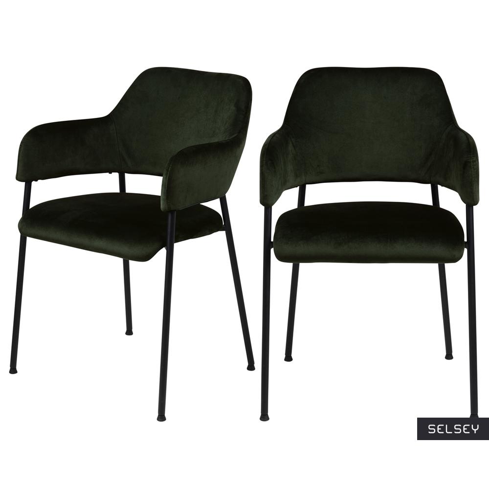 Zestaw dwóch krzeseł tapicerowanych Adansonia oliwkowe