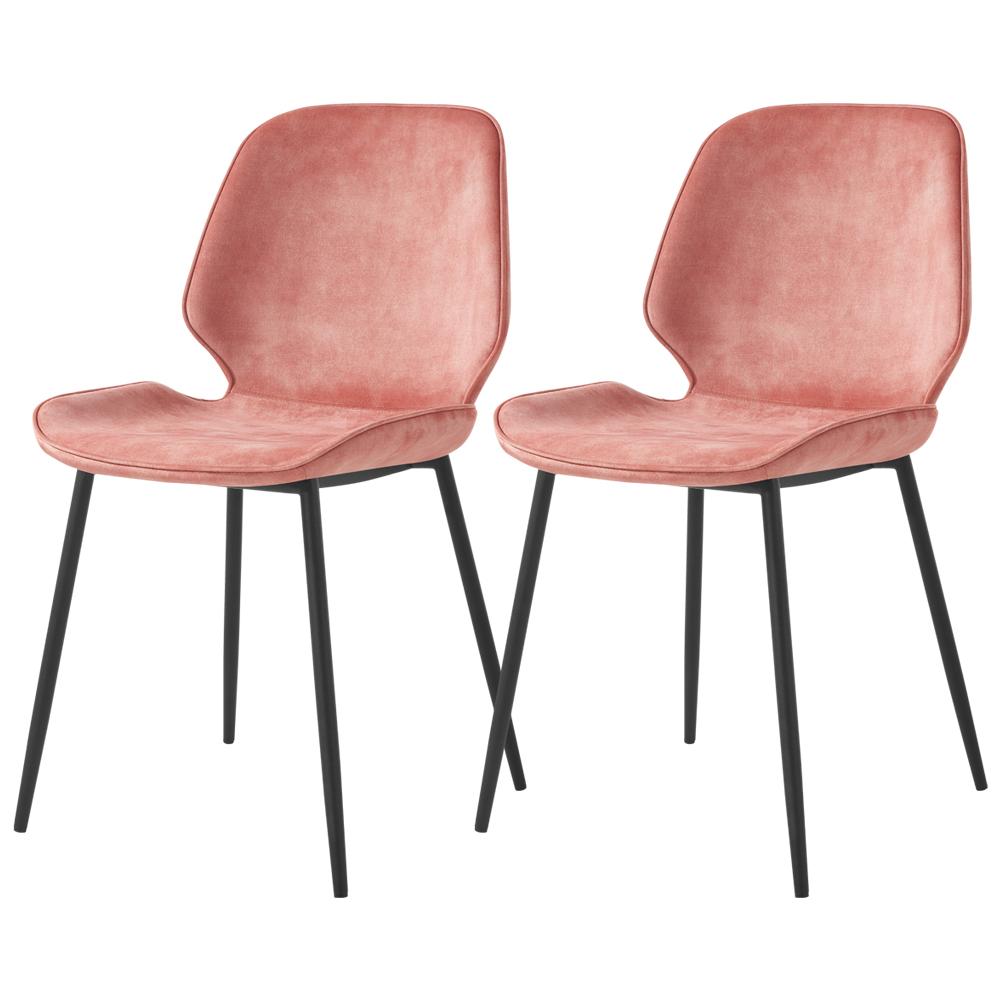 Zestaw dwóch krzeseł tapicerowanych Rablart różowe