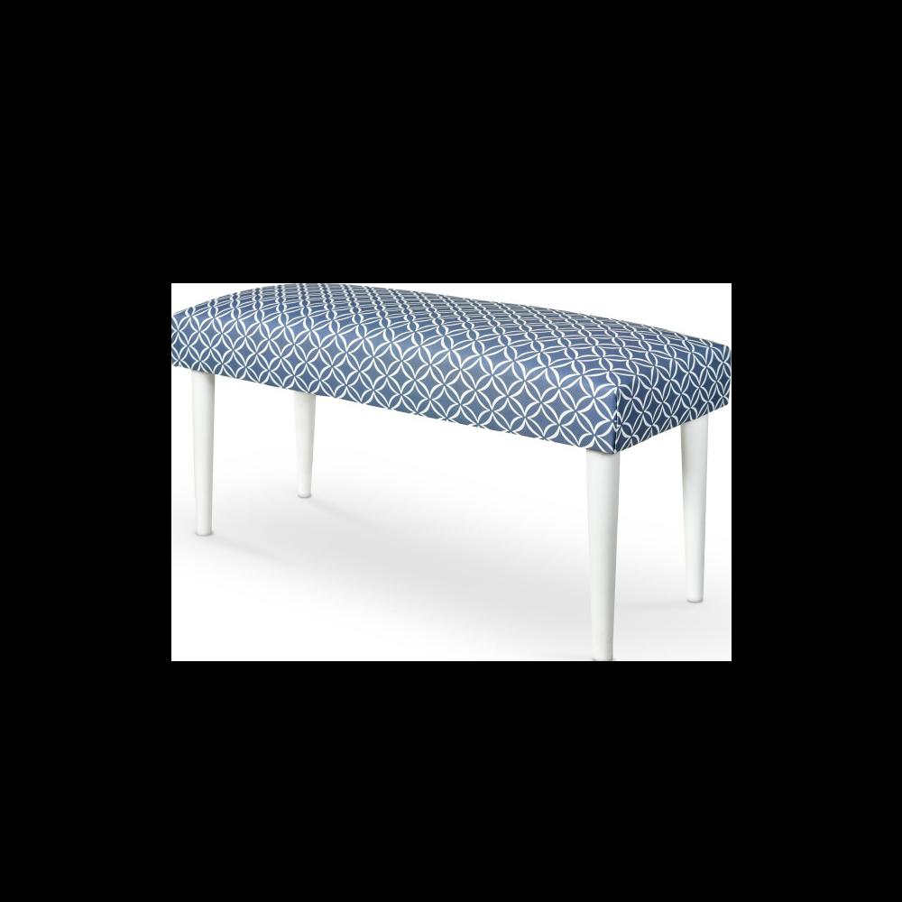 Ławka Bram niebiesko - białe tapicerowanie