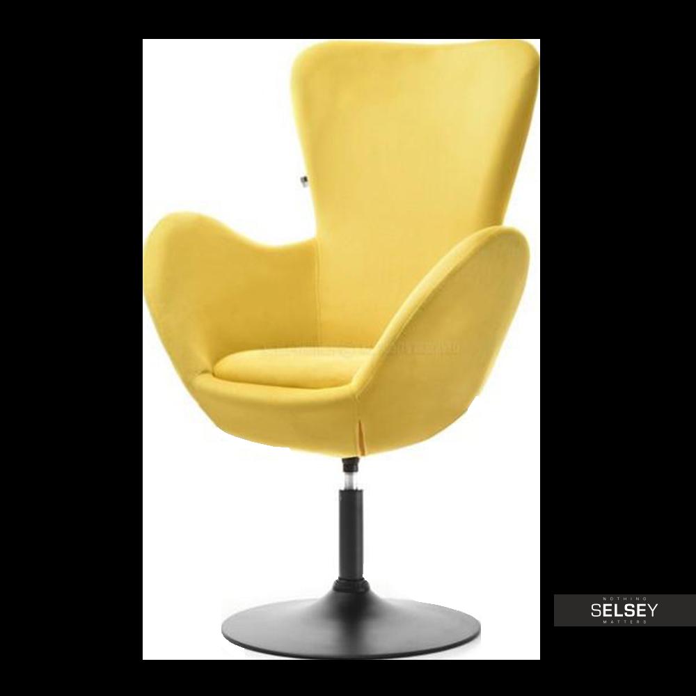 Fotel obrotowy Jacob żółty - czarny mat uszak velvet