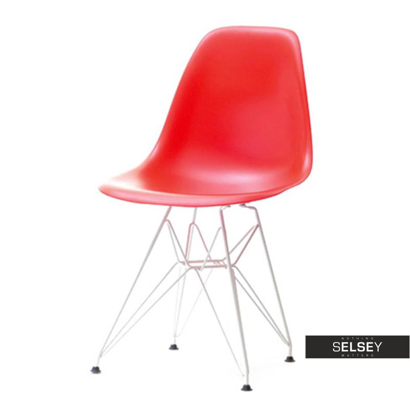 Krzesło MPC rod czerwone na chromowanych nóżkach