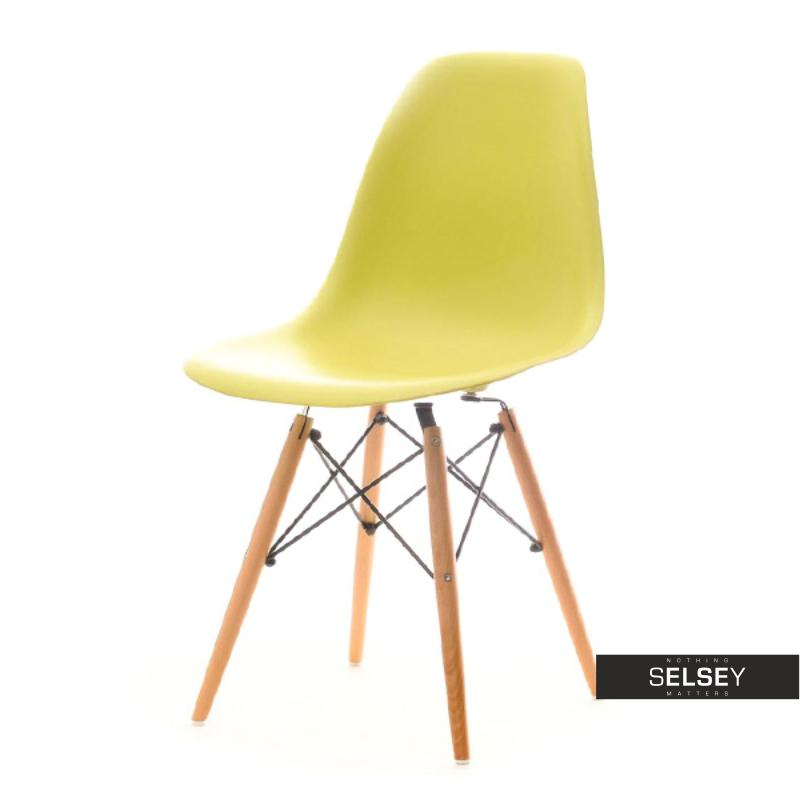 Krzesło MPC wood zielone na drewnianych nóżkach