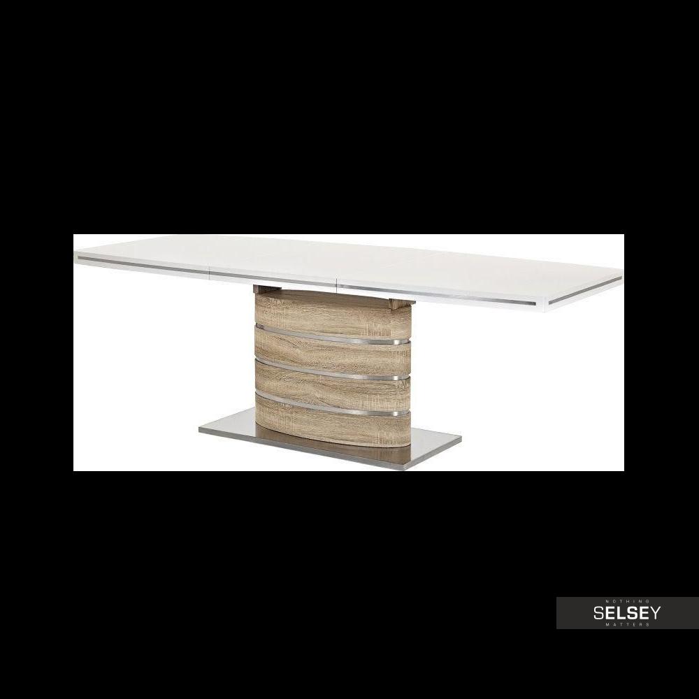 Stół Vaster 160(220)x90 cm dąb sonoma z białym blatem