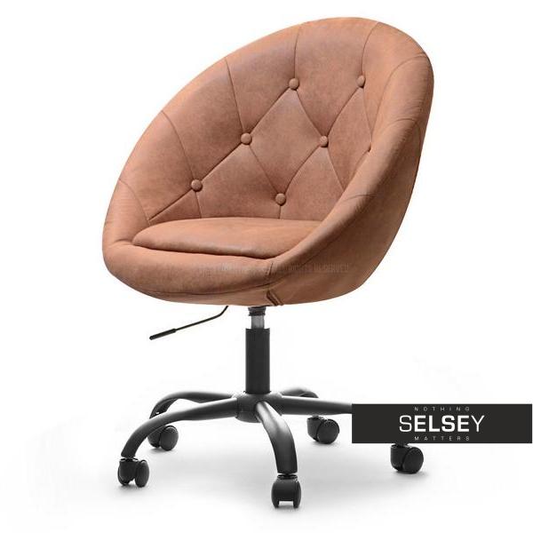 Fotel biurowy Lounge 4 jasny brąz - czarny w stylu vintage