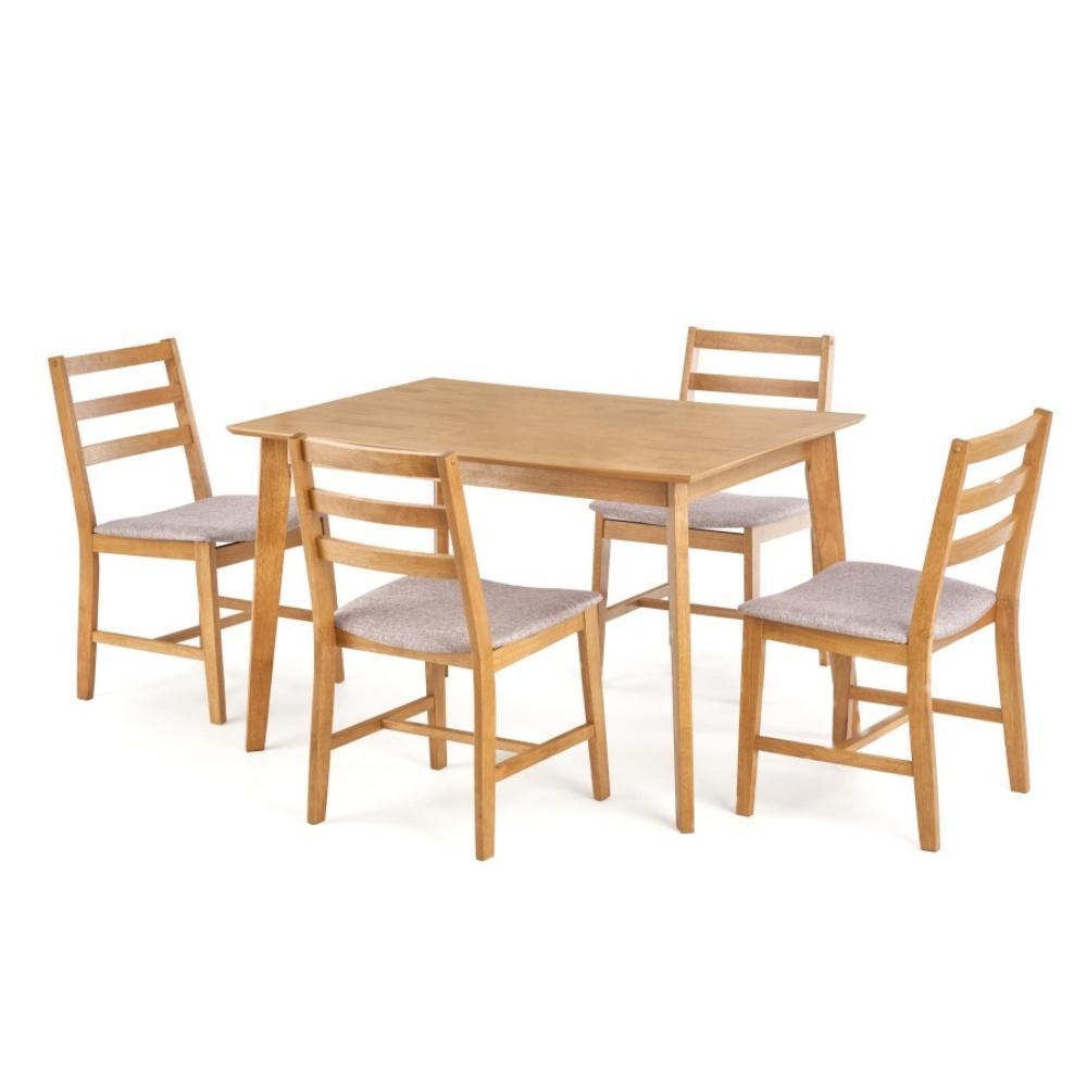 Stół z krzesłami Ques jasny dąb