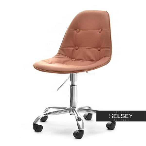Fotel biurowy MPC move tap brązowa ekoskóra z pikowaniem obrotowe