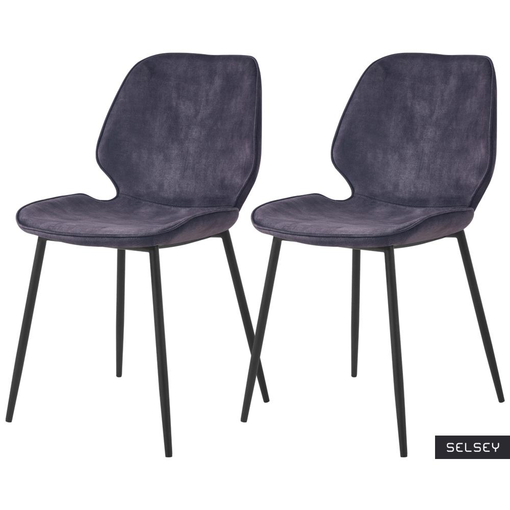 Zestaw dwóch krzeseł tapicerowanych Rablart szare