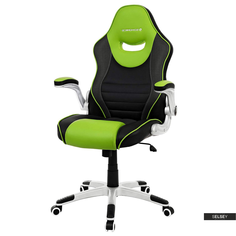 Fotel biurowy Cheryl czarny z zielonymi wstawkami