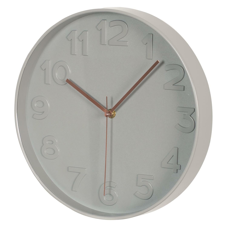 Zegar ścienny Naret szary średnica 30,5 cm