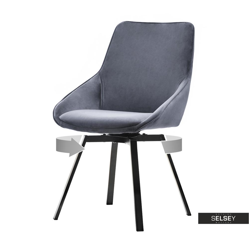 Krzesło Sunrise szare na czarnej podstawie