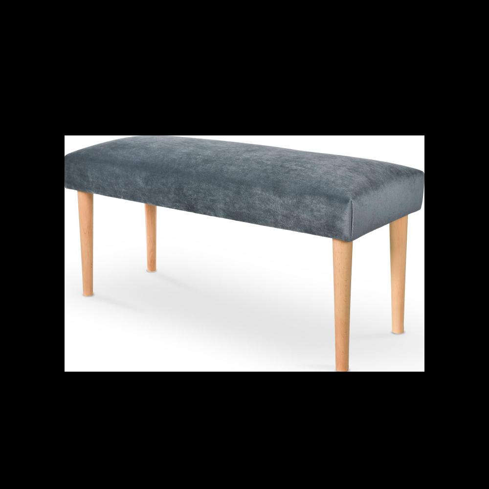 Ławka Bram szare tapicerowanie - buk