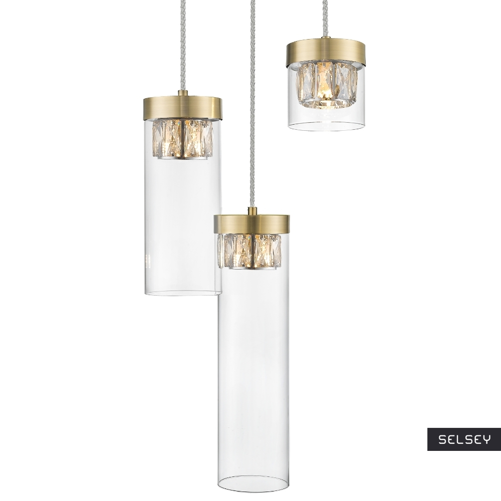Lampa wisząca Isauras x3 antyczne złoto