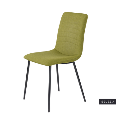 Krzesło Martin zielone tapicerowane na smukłych nogach