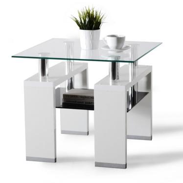 Stolik kawowy Diana 60x60 cm biała ze szklanym blatem