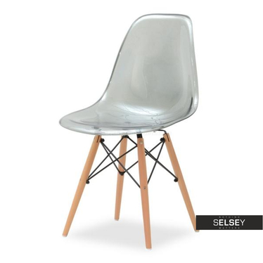 Krzesło MPC wood transparentne dymione na drewnianych nóżkach