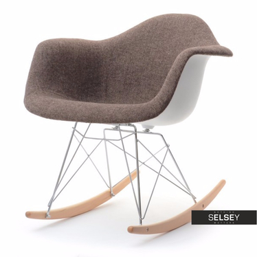 Krzesło bujane MPA ROC tap brąz designerski bujak z podłokietnikami