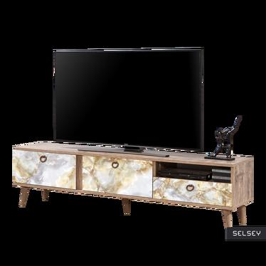 Szafka RTV Smartser 180 cm ciemna z frontami ze wzorem złotawego marmuru