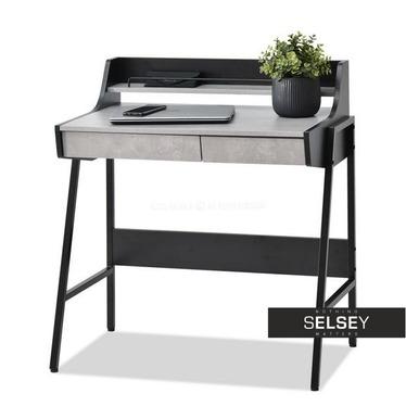 Biurko Borr czarny-beton z nadstawką i szufladami
