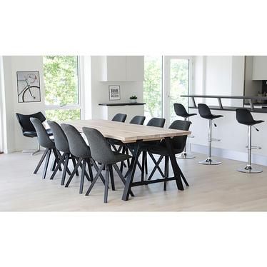 Zestaw dwóch krzeseł tapicerowanych Umbreta ciemnoszare na czarnej podstawie
