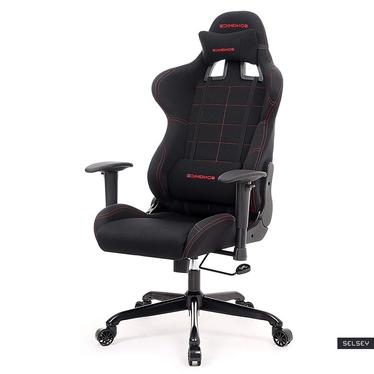 Fotel gamingowy Operon z czerwonymi przeszyciami
