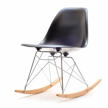 Krzesło bujane MPC roc czarne na stalowych nogach z drewnianymi płozami
